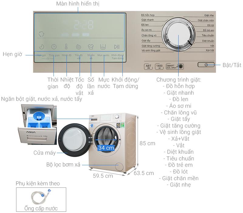 Máy giặt Aqua Inverter 10.5 kgAQD-D1050E.N