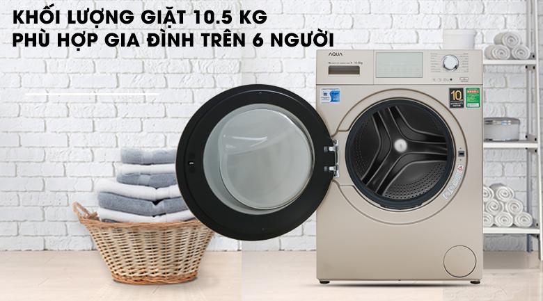Máy giặt Aqua Inverter 10.5 kgAQD-D1050E.N- khối lượng