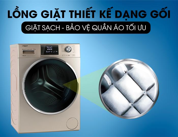 Máy giặt Aqua Inverter 10 KgAQD-DD1050E.S lồng giặt dạng gối
