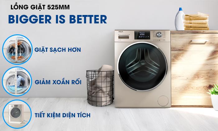 Máy giặt Aqua Inverter 10 KgAQD-DD1050E.S lồng giặt to