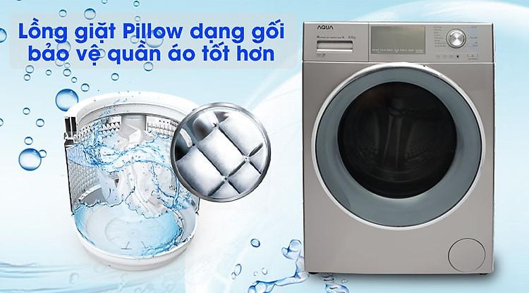 Máy giặt Aqua Inverter 9.5 kgAQD-DD950E.N Lồng giặt gối