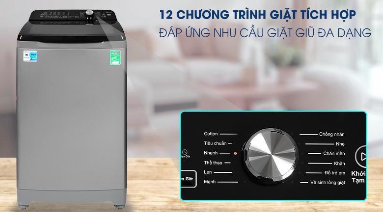 Máy giặt Aqua 10 Kg AQW-FR100ET S Mới 2020- chương trình giặt đa dạng