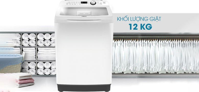 khối lượng giặt Aqua 12 Kg AQW-FR120CT.W