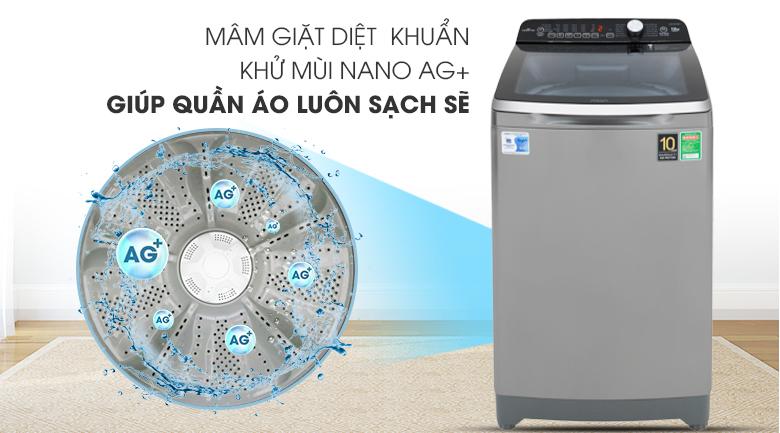 công nghệ diệt khuẩn khử mùi phân tử bạc Máy giặt Aqua Inverter 10 KgAQW-DR100ET.S