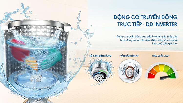động cơ truyền động trực tiếp Máy giặt Aqua Inverter 10 KgAQW-DR100ET.S