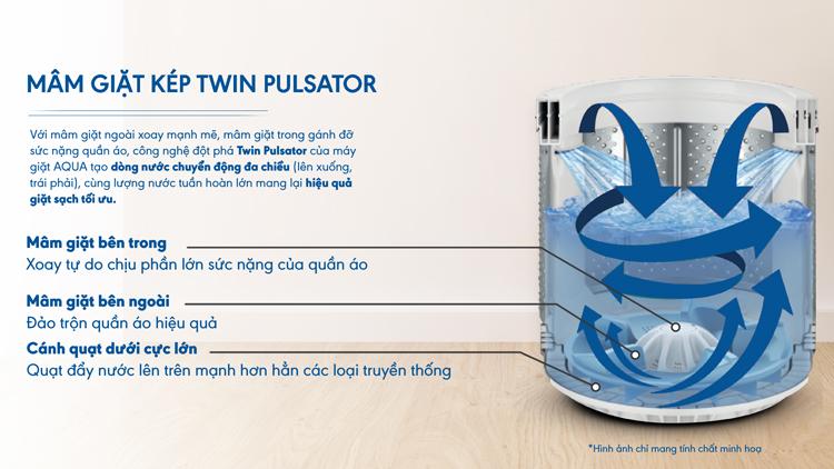 mâm giặt kép Twin Pulsator