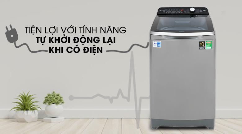tự khởi động lại khi có điện Máy giặt Aqua Inverter 10 KgAQW-DR100ET.S