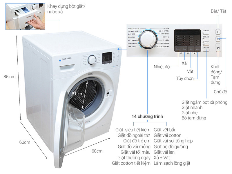 Máy giặt Samsung 8 kg WW80H5290EW/SV