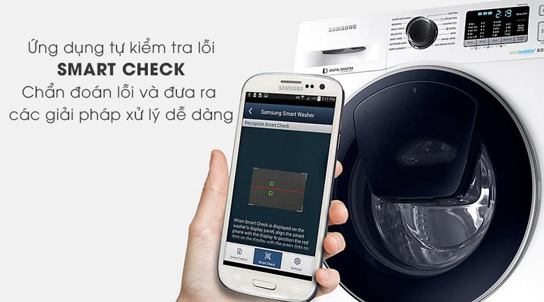 chẩn đoán thông minh Máy giặt Samsung AddWash Inverter 8 kg WW80K5410US/SV