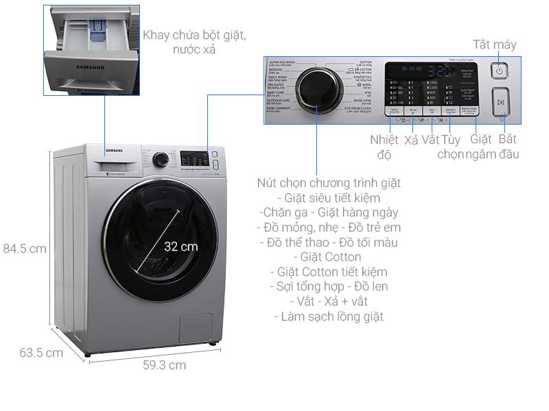 Máy giặt Samsung AddWash Inverter 8 kg WW80K5410US/SV