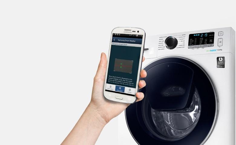 chuẩn đoán thông minh bằng điện thoại Máy giặt Samsung AddWash Inverter 7.5 kg WW75K5210YW/SV