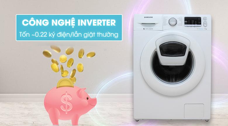 công nghệ inverter Máy giặt Samsung AddWash Inverter 7.5 kg WW75K5210YW/SV