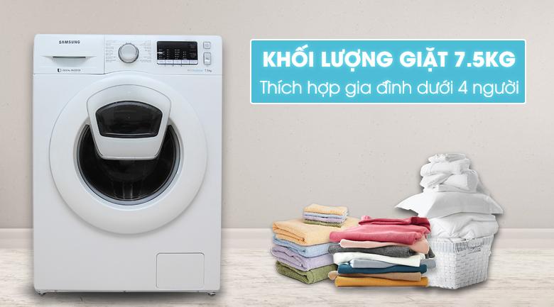 thiết kế- khối lượng Máy giặt Samsung AddWash Inverter 7.5 kg WW75K5210YW/SV