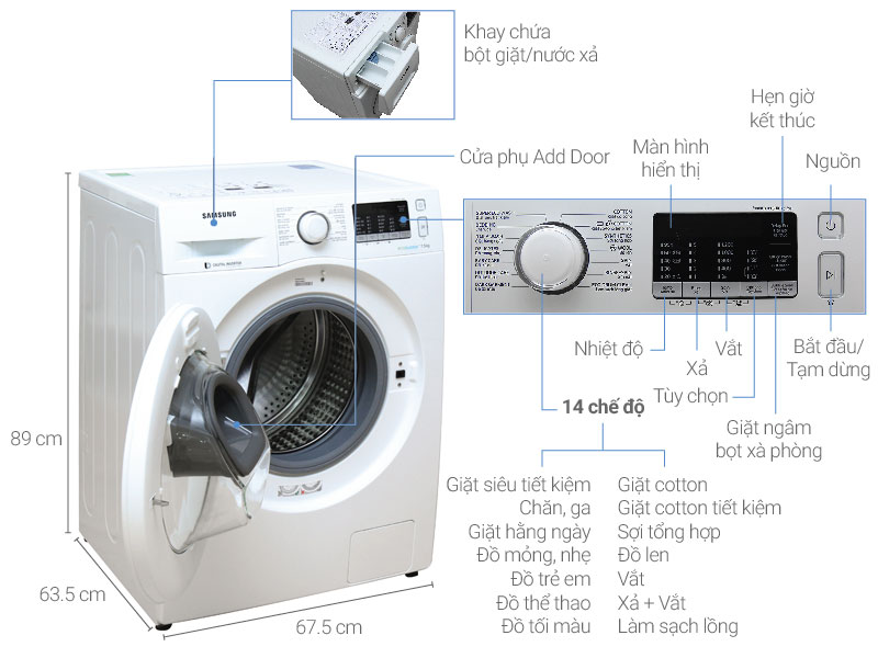 Máy giặt Samsung AddWash Inverter 7.5 kg WW75K5210YW/SV