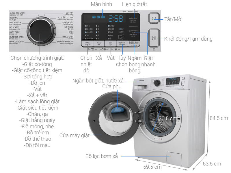 Máy giặt Samsung Inverter 7.5 kg WW75K5210US/SV