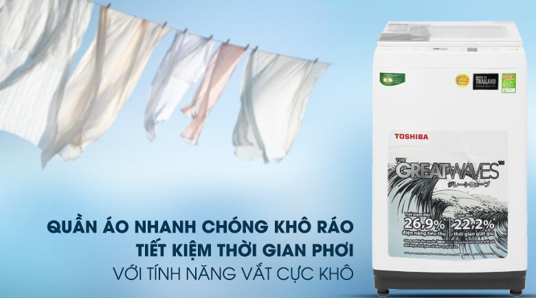 Máy giặt Toshiba 8 kg AW-K900DV(WW) vắt cực khô