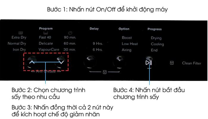 Cách sử dụng máy sấy Electrolux dòng EDS & EDV