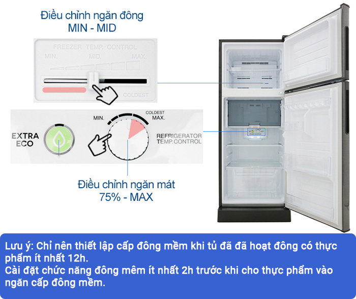 cài đặt cấp đông mềm cho tủ lạnh