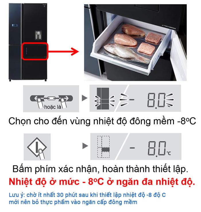cài đặt cấp đông mềm cho tủ lạnh Sharp