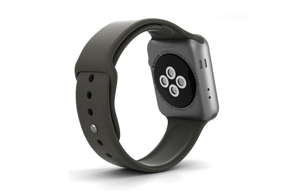 dây cao su apple-watch-series-3-gps-42mm-vien-nhom-day-cao-su-den-mtf32vna