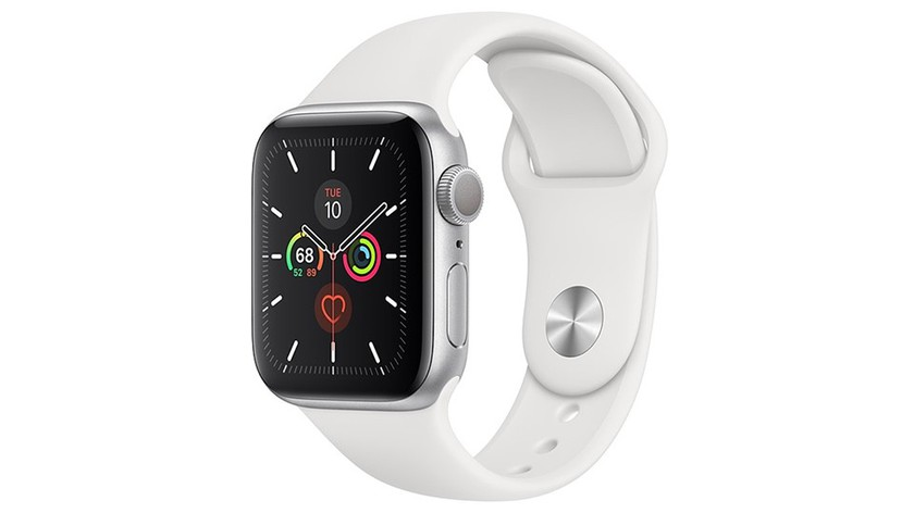 thiet ke trang apple-watch-series-5-gps-40mm-vien-nhom-bac-day-cao-su-trang-mwv62vna