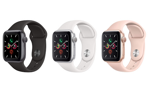 thiết kế Apple Watch Series 5 GPS, 44mm viền nhôm xám dây cao su đenMWVF2VN/A