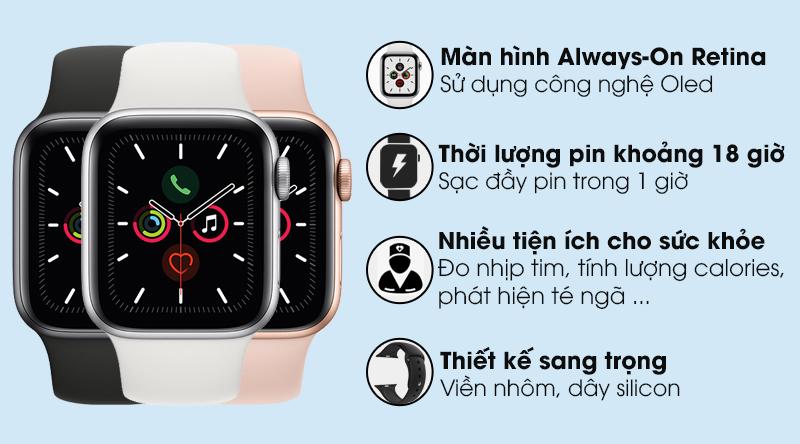 Apple Watch Series 5 GPS, 44mm viền nhôm xám dây cao su đenMWVF2VN/A