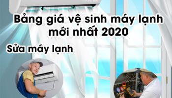 BANG GIA VE SINH MAY LANH MOI NHÁT 2020